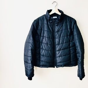 Black Cropped Puffer Coat